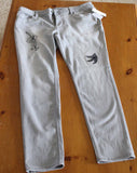 Liz Claiborne Size 16 gray jeans 5 pocket skinny leg low rise New hand-embroidered with orchid for sale.