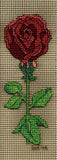 Black Rose cross stitch features a dark red rose erect with bright green leaves