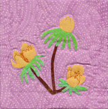 Aconite flowers six inch quilt block featured in Blooming Spring depicts beautiful yellow flowers with spring green leaves on a red brown stalk.  Available as the Blooming Spring wallhanging pattern at Raspberry Lane Crafts. New March 2018