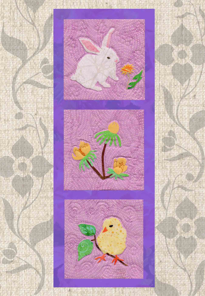 Bunny rabbit, yellow spring flowers, yellow chick is the Blooming Spring Quilt Pattern for Sale Buy Purchase Find at Raspberry Lane Crafts.  Wendy Christine
