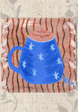 Blue Coffee Cup with Mocha Cream and Stars Coasters Blue Latte Design by Wendy Christine
