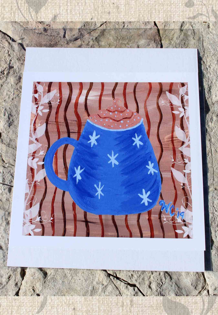 Blue Mug Latte Art Print 8 x 8 inch by Wendy Christine for Sale at Raspberry Lane Crafts
