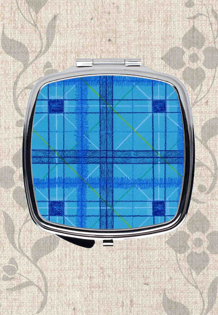 Buy Blue Plaid Compact Mirrors for Purse Travel Office Desk Use at Raspberry Lane Crafts