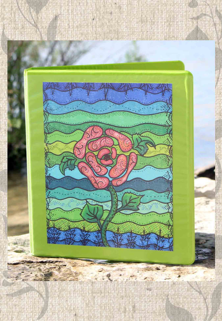 Buy Green School Binder with Art Print Decoration.  Find Purchase at Raspberry Lane Crafts