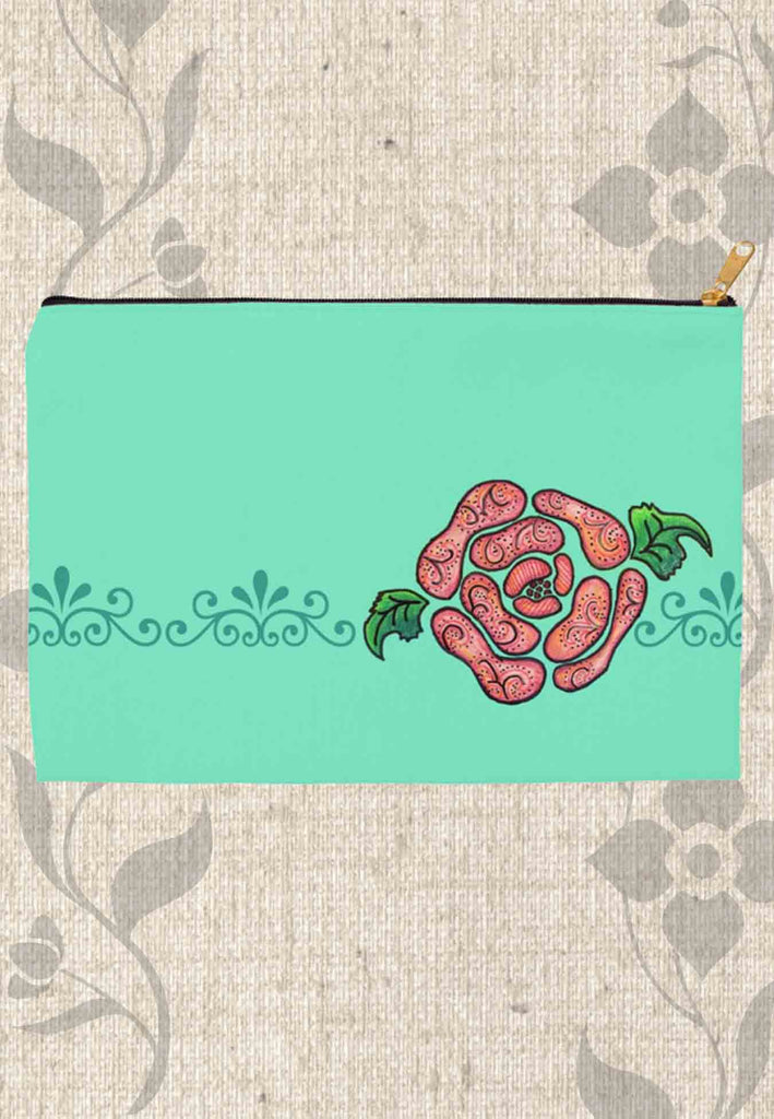 Blue Stone Mint Accessory Pouches feature a Southwest Pink Rose on Aqua with zipper in multiple sizes for sale at Raspberry Lane Crafts