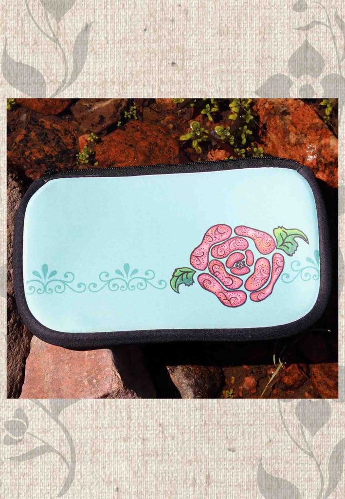 Blue Stone Cosmetics Bags with Zipper for Sale Aqua with Pink Flower by Wendy Christine.