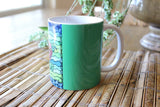 Blue Stone Mug features blue and green Southwest pink flower. Buy Find Purchase at Raspberry Lane Crafts