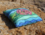 Southwest Flower Pillow Green and Blue for sale Bluestone by Wendy Christine.  Buy Find at Raspberry Lane Crafts