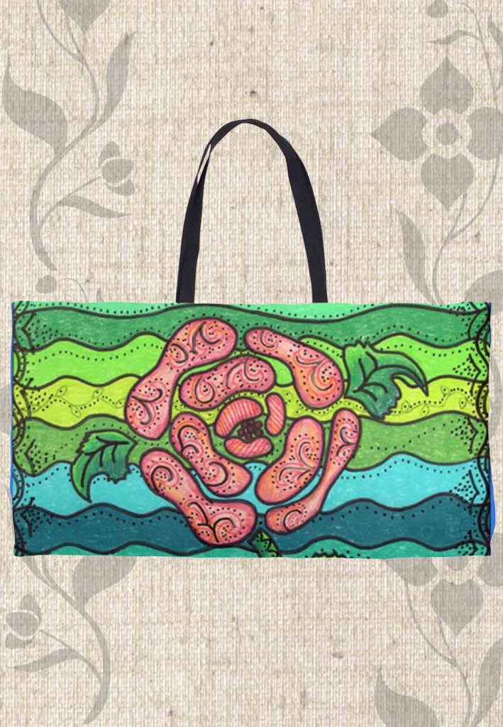 Blue and Green with Pink Rose Weekender Tote Bags for Sale