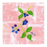 Blueberry Jubilee art print by Wendy Christine features bunches of blueberries with bright green leaves on pink and white background.  From a painting by Wendy Christine.  Purchase at www.raspberrylanecrafts.com