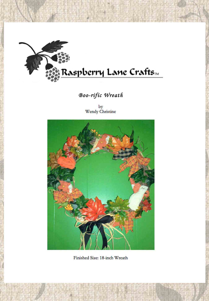 Boo-rific Halloween Wreath craft project pattern front cover featured the finished wreath decorated with white ghost, black plaid bat and orange pumpkin digital download cover.  Raspberry Lane Crafts purchase buy pattern.