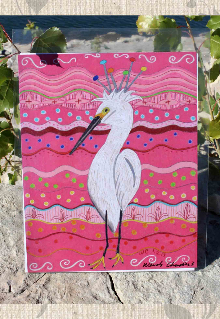 Hot Pink Art Print Bird by Wendy Christine Brane Crane for sale at Raspberry Lane Crafts