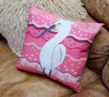 Fun Pink Throw Pillows for Sale Brane Crane for Pink Decorating.  For Sale at Raspberry Lane Crafts