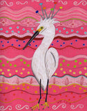 'Brane Crane features a white wading bird with colorful idea beads sprouting from its head with a background of hot pinks and dotted with a rainbow of colors from The Art of Wendy Christine