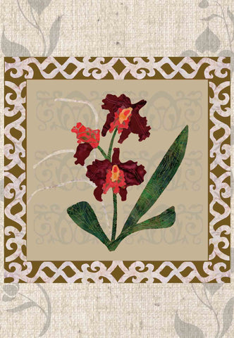 Burgundy Bliss Orchid Quilt Block Pattern