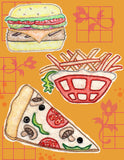 Burgers, Fries, and Pizza embroidery designs pattern download at Raspberry Lane Crafts