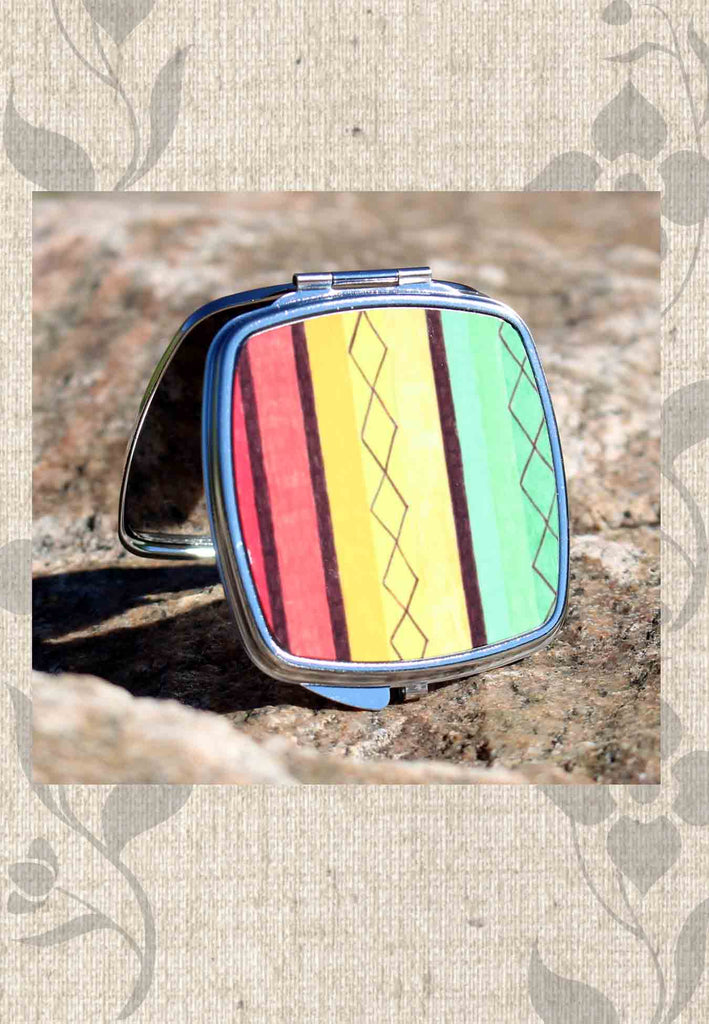 Cabana Compact Mirrors for Sale feature colorful stripes.  Raspberry Lane Crafts.