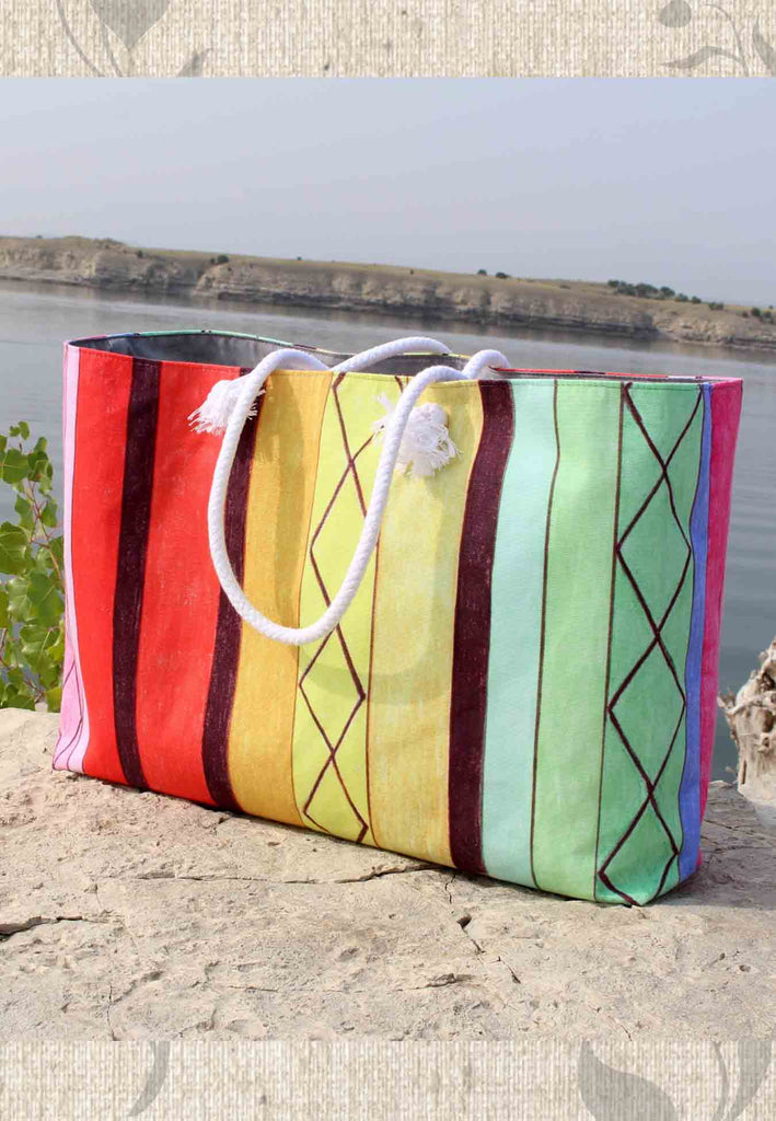 Cabana Weekender Tote Bags feature Colorful Stripes for Sale at Raspberry Lane Crafts