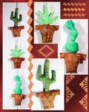 Cactus in Clay Pots Quilt Pattern Mobile Yucca Saguaro Prickly Pear hanging decoration.  Raspberry Lane Crafts