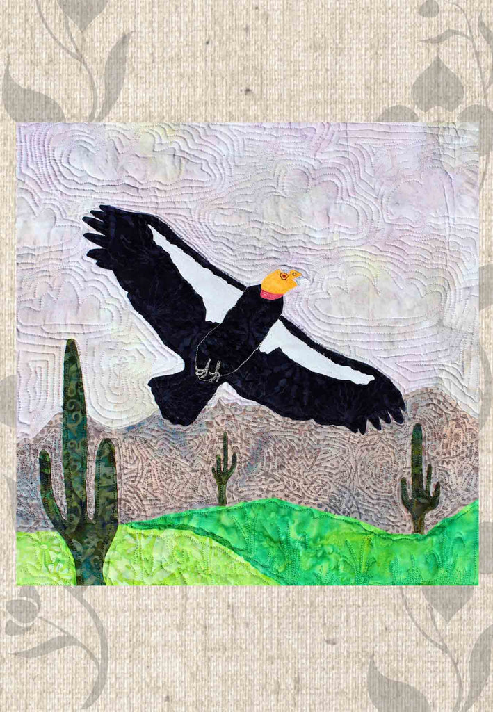 California Condor Quilt Pattern features the large black and white raptor with orange head above the Arizona saguaro cactus desert with mountains.  For sale, buy, purchase, find at Raspberry Lane Crafts