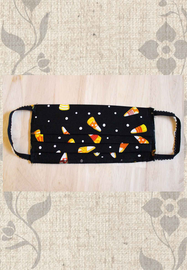 Black Candy Corn Fabric Face Mask for Sale at Raspberry Lane Crafts