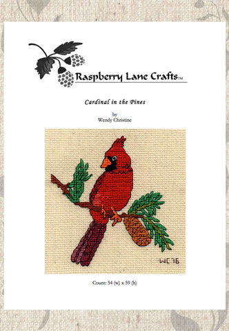 Cardinal in the Pines Cross Stitch Pattern Digital Download