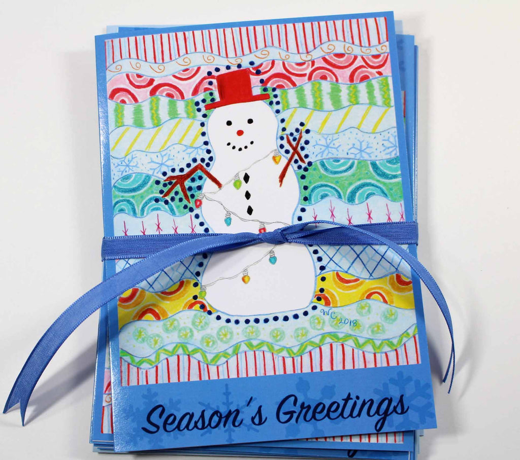 Carnivale Snowman Greeting Card Set of Five Cards with Five Baby Blue Envelopes for sale at Raspberry Lane Crafts.