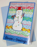 Carivale Snowman Greeting Card with Baby Blue Envelope for sale only at Raspberry Lane Crafts.