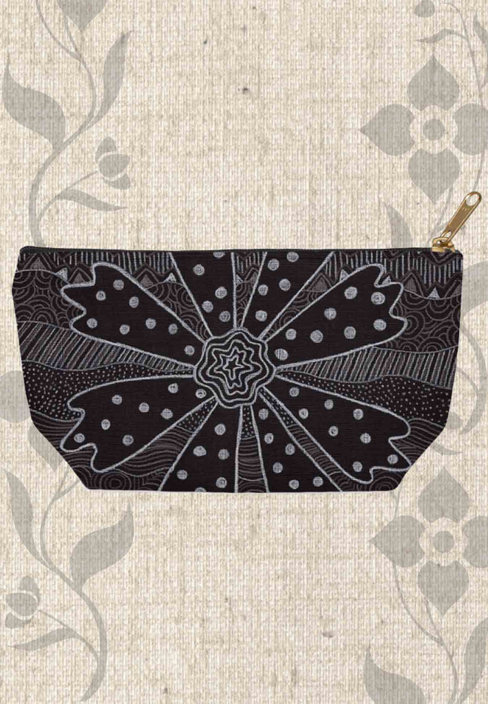 Black Flower Accessory Pouches Zipper Make-up Bags for Sale