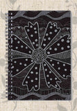 Black and White Spiral Notebook Charcoal Daisy for Sale at Raspberry Lane Crafts