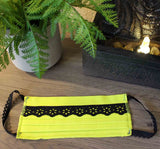 Chartreuse with Black Lace Fabric Face Masks for Sale