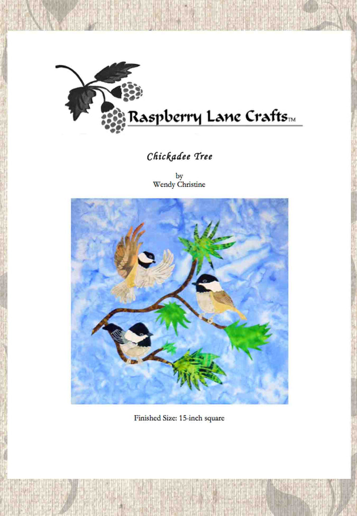 Chickadee Tree quilt block pattern digital download features three mountain birds black-capped chickadees in a stylish Ponderosa Pine branch.  Buy at Raspberry Lane Crafts.