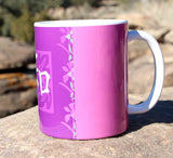 Buy Pink Purple Coffee Mug with Chinese Peace Symbol.  For sale purchase find at Raspberry Lane Crafts