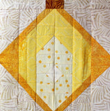 Chinese Lantern Faith finished quilt block one of three lantern blocks is shown here.  Raspberry Lane Crafts.