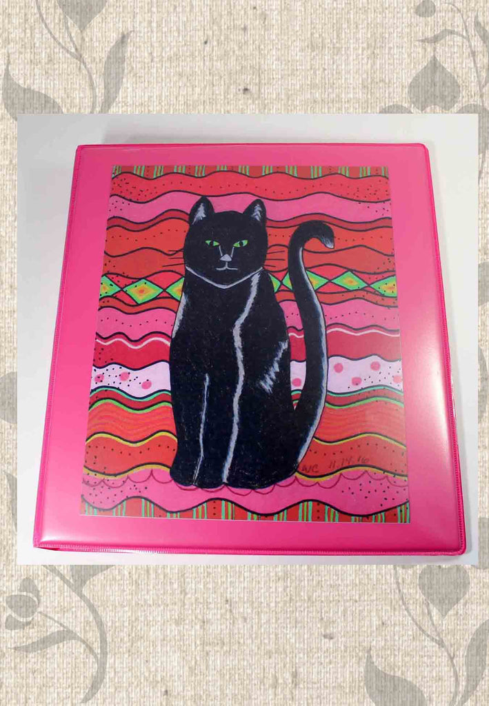 Black Cat on hot pink 3-ring binder for sale from The Art of Wendy Christine.