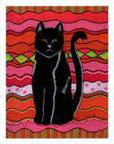 Circus Cat 8 x 10 inches Art Print for Sale by Wendy Christine features sitting black cat with green eyes on pinks and reds with circus diamonds and stripes in green. For Sale The Art of Wendy Christine