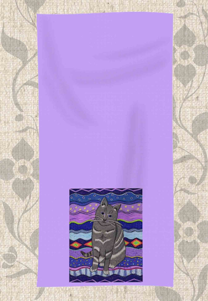 Buy Purple Violet Cat Hand Towel by Wendy Christine at Raspberry Lane Crafts.  Purchase Find