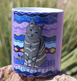 Gray Cat Purple Mug with Stars for Sale.  The Art of Wendy Christine.