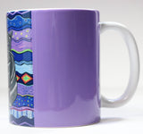 Cat Mug for Sale. Purple Violet Color.