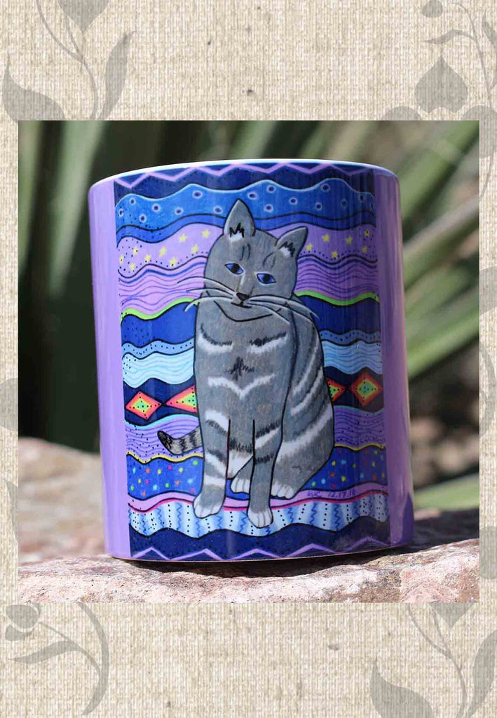 City Cat mug features a gray cat with purple starry background and purple wrap-around color and white handle.  For sale at Raspberry Lane Crafts.