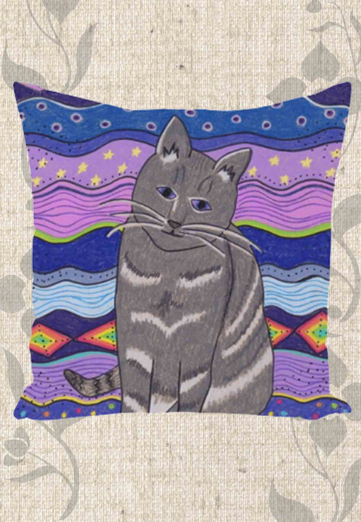City Cat Decorative Throw Pillows for Sale. Purple Throw Pillow. Gothic Theme