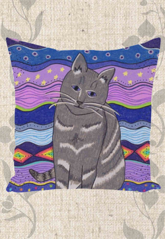 City Cat Throw Pillows
