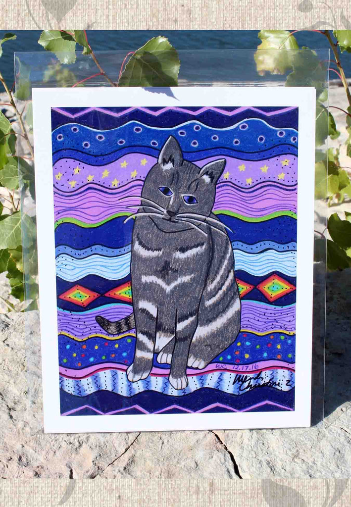 Purple Cat Art Print 8 x 10 inches for Sale City Cat from The Art of Wendy Christine.  For sale, purchase find at Raspberry Lane Crafts