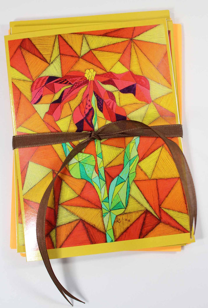 Clementine Greeting Card with Orange Envelope Set of Five features a red flower with green leaves and stem and stained glass-style background of orange and yellow.  From artwork by Wendy Christine