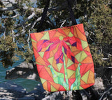 Stained Glass flower looking bag for sale at Raspberry Lane Crafts featuring orange red yellow and green