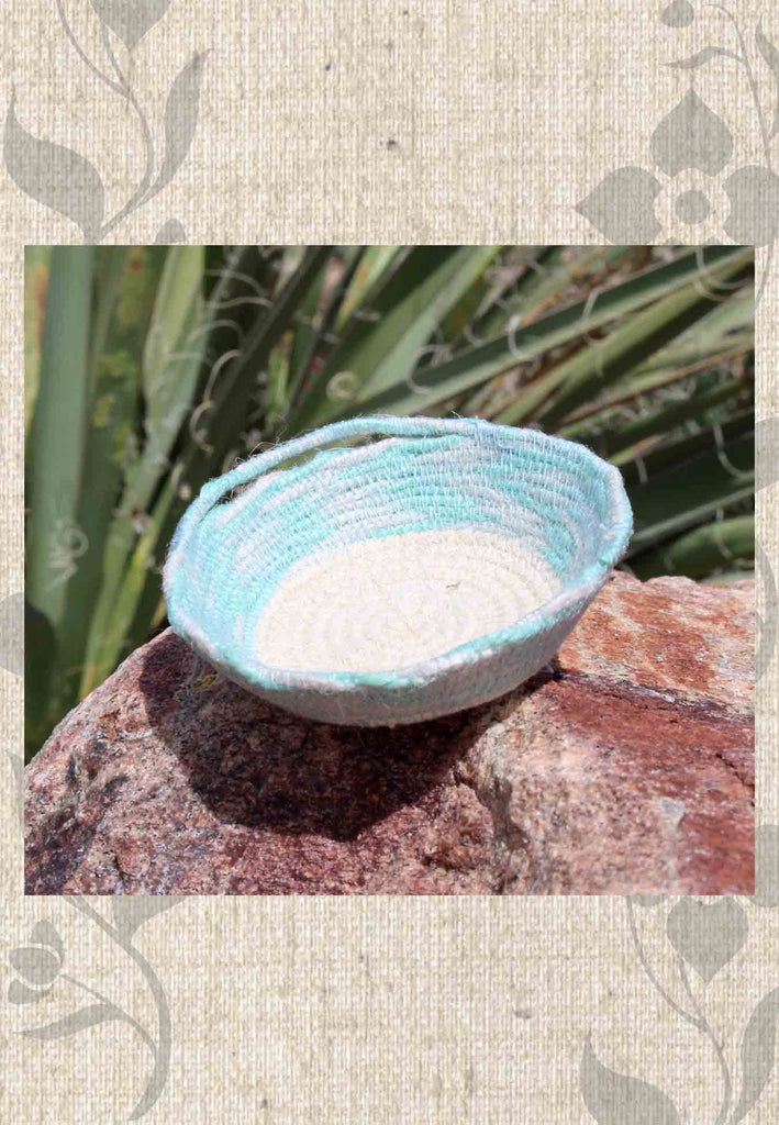 Light cloud blue artisanal mini basket for sale at Raspberry Lane Crafts