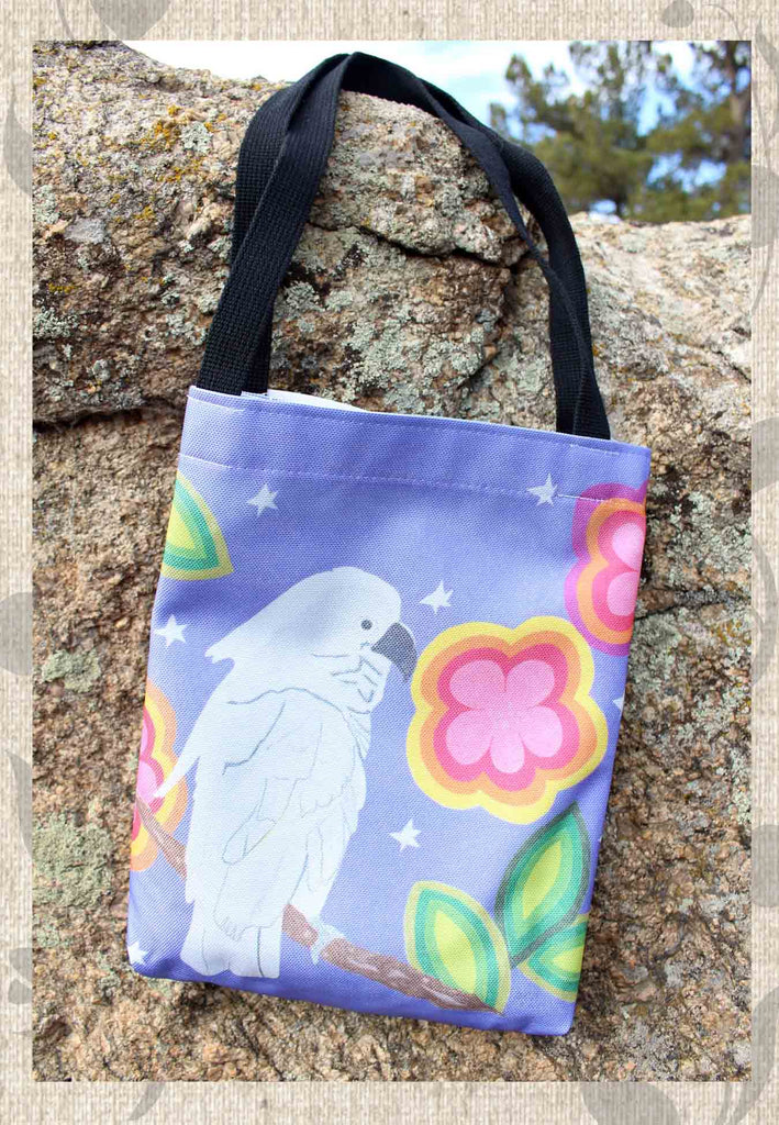Purple Bag with White Cockatoo Latin Mexico for Sale at Raspberry Lane Crafts