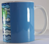 Side view of blue grapes mug for sale at Raspberry Lane Crafts