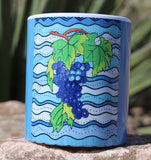 Purple Grapes on Blue Mug Design by Wendy Christine.  For Sale at Raspberry Lane Crafts.