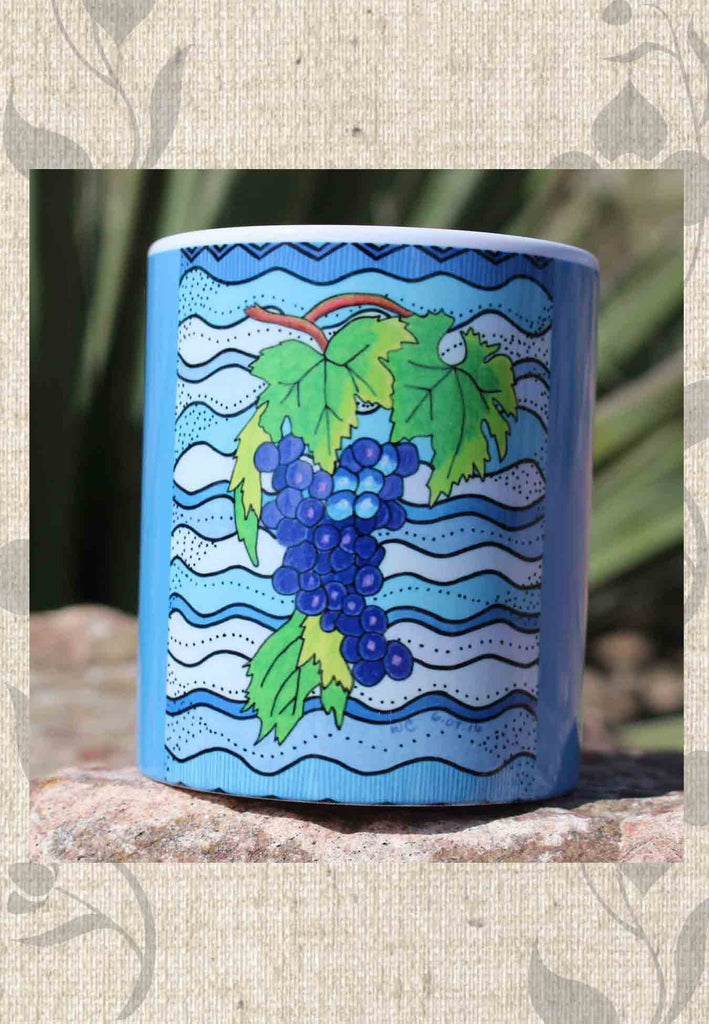 Buy Blue Grapes Coffee Mug.  Vineyard Decor. Purple Grapes on Blue Mug.  The Art of Wendy Christine.  Buy Purchase Find at Raspberry Lane Crafts